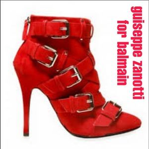 Guiseppe Zanotti for Balmain Red Suede Booties
